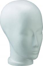 Styroporkopf mit Gesicht, weiß